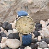 Orologio da polso, da donna, al quarzo, con numeri romani, cinturino in pelle, colore: blu e oro