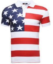 Polo con bandiera USA allover
