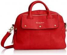 SwankySwans SwankySwansCarla PU Leather Double Zip Smart - Borsa tote Donna, Rosso (Red (Red)), Taglia Unica