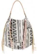 Patrizia Pepe - Borsa a spalla con frange - women - Cotton/Leather/Acrylic/Other fibres - OS - WHITE