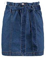 Petite Hannah Paper Bag Waist Denim Skirt