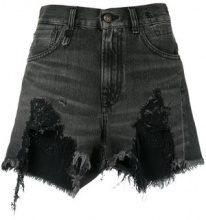 R13 - Shorts denim strappati - women - Cotone - 28 - Nero
