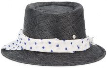 Maison Michel - 'Ed' straw Hat with Polka Dot Band - women - Straw - L - Nero