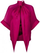Givenchy - Top drappeggiato con stampa rottweiler - women - Silk/Cotton/Wool - 34, 36, 38, 40 - PINK & PURPLE