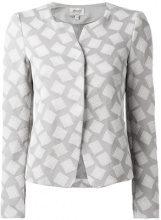 Armani Collezioni - giacca fantasia quadrata - women - Cotton/Polyamide/Spandex/Elastane - 42 - GREY