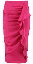 Evie Scuba Frill Detail Midi Skirt