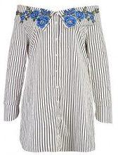 Plus sarah abito a camicia ricamato  e con righe