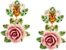 Dolce & Gabbana - Orecchini a clip - women - Crystal/Resin/Brass - OS - PINK & PURPLE