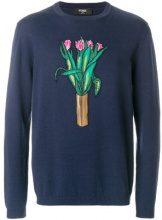 Fendi - Maglione con motivo a fiori - men - Cotton/Cashmere/Madre di Pearl - 50, 52 - BLUE