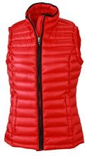 James & Nicholson - Daunenweste Ladies Quilted Down Vest, Giacca Donna, Rosso (Red/Black), Small (Taglia Produttore: Small)