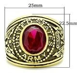 ISADY - US Army Gold Rubis - Anello Uomo - Zirconia Cubica Rosso
