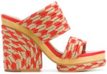 Tory Burch - Sandali 'Lola' - women - Leather/Straw - 6, 7, 7.5, 8, 8.5, 9 - Giallo & arancio