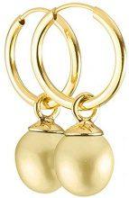 Pearls & Colors PC-9BOC8-GO - Orecchini a cerchio, in oro giallo 9 kt, con perle d'acqua dolce