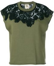 Semicouture - lace insert T-shirt - women - Cotton/Spandex/Elastane - S, M, L - GREEN