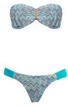 Brigitte - printed bandeau bikini set - women - Polyamide/Spandex/Elastane - PP, P, M, G - BLUE