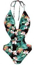 Perth costume con fiori tropicali allacciato con intagli