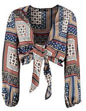 Maria Scarf Print Tie Front Blouse