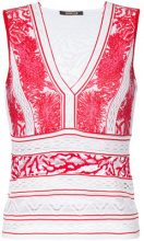 Roberto Cavalli - plunge neck embroidered panel top - women - Polyamide/Polyester/Viscose - 38, 40, 42 - RED