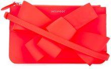 Delpozo - asymmetric bow clutch - women - Calf Leather - One Size - PINK & PURPLE