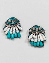ASOS DESIGN - Orecchini a bottone con perline semipreziose e sintetiche - Multicolore