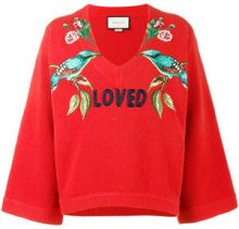 Gucci - Loved bird embroidered top - women - Wool - XS, S - RED