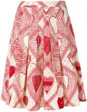 Red Valentino - printed pleated skirt - women - Cotton - 38, 40, 42, 44 - RED
