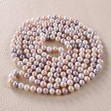 Rolicia AA grado 8-9mm 65Inches 165cm d'acqua dolce coltivato multicolore collana di perle che corrispondono orecchino della vite prigioniera impostata nel contenitore di regalo