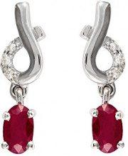 Ivy Gems Donna  9 carati  oro bianco Ovale   rosso Rubino