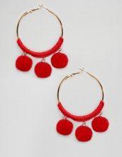 New Look - Orecchini a cerchio con pompon - Rosso