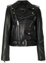 Manokhi - classic biker jacket - women - Leather/Polyester/Viscose - XS, S, M, L - BLACK