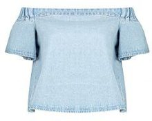 Maisie top in denim con scollo a barca