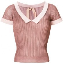 Nº21 - T-shirt crop a coste - women - Polyamide/Viscose - 44, 42 - PINK & PURPLE