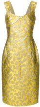 Prada - Vestito aderente con stampa barocca - women - Acetate/Cotton/Polyamide/Silk - 40, 42, 44 - YELLOW & ORANGE