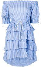 Christian Pellizzari - frilled strapless dress - women - Cotton/Polyamide/Spandex/Elastane - 40 - BLUE