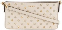 DKNY - studded logo shoulder bag - women - Calf Leather/Polyester/Polyurethane/Steel - OS - NUDE & NEUTRALS