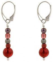 Amanti Venezia-Bracciale in vetro di Murano, colore: rosso-Orecchini pendenti, con chiusura a monachella