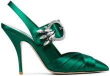 Miu Miu - Pumps con cinturino - women - Satin/Leather - 36.5, 37.5, 39, 39.5, 40, 40.5, 41 - GREEN