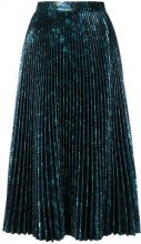 Prada - pleated metallic skirt - women - Silk/Polyester/Cupro - 40, 42, 38 - BLUE