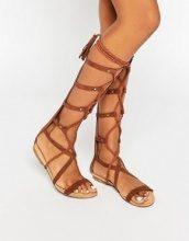 Glamorous - Sandali piatti alti stile gladiatore
