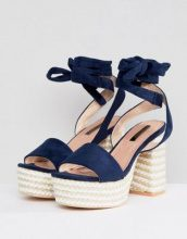 Lost Ink - Sandali blu navy con tacco e plateau stile espadrilles - Navy
