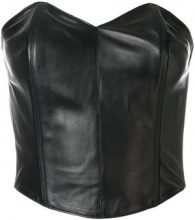 Plein Sud - Bustier in pelle - women - Leather/Polyester - 38 - BLACK