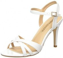 Buffalo Shoes 312703 Patent PU - Sandali con Zeppa Donna, Bianco (White), 36 EU