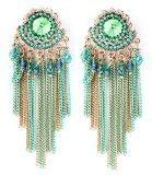 Lunga orecchini collane oro Mega Glamour con cristalli trasparenti colore verde menta verde perline verde e blu 8 cm lang