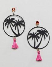 ASOS DESIGN - Miami Nights - Orecchini a cerchio con nappe - Oro