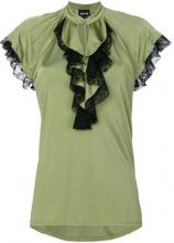 Just Cavalli - frill detail blouse - women - Viscose - 38, 40, 42 - GREEN