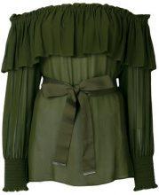 Pinko - Blusa con spalle scoperte 'Becky' - women - Viscose/Polyester - 42 - GREEN
