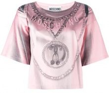 Moschino - trompe-l'oeil backpack T-shirt - women - Acetate/Rayon/Other fibres - 42 - PINK & PURPLE