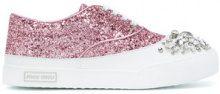 Miu Miu - Sneakers con glitter e cristalli - women - Leather/Polyester/rubber - 36.5, 38.5, 39 - PINK & PURPLE