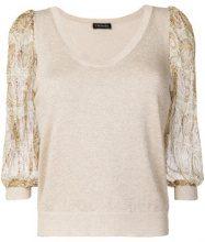 Twin-Set - contrast sleeves blouse - women - Silk/Cotton/Polyester/Metallic Fibre - M, XL, XXL - NUDE & NEUTRALS