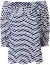 Michael Michael Kors - off-the-shoulder optical-print blouse - women - Polyester/Spandex/Elastane - M - BLUE